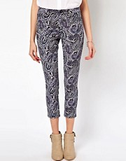 Vero Moda Navy Paisley Print High Waist Jean