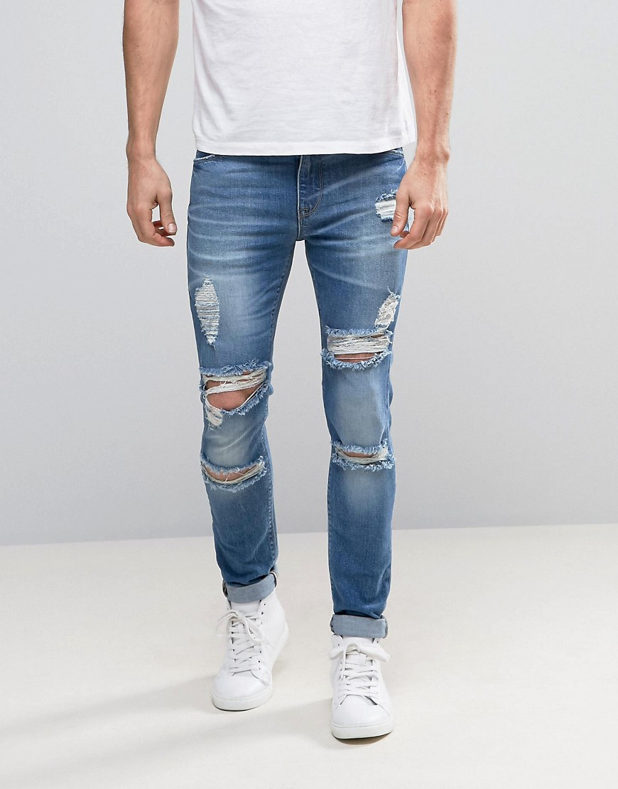 ASOS Super Skinny Jeans With Mega Rips In Mid Blue - Mid blue
