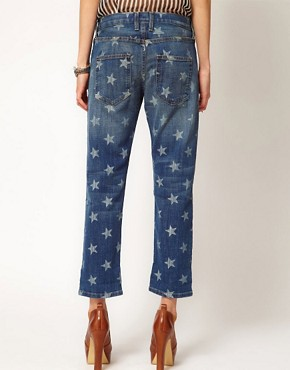 Image 2 ofCurrent/Elliott The Boyfriend Jean in white Star Print