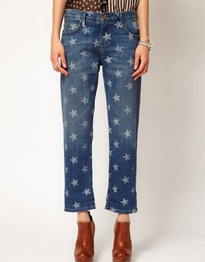 Image 4 ofCurrent/Elliott The Boyfriend Jean in white Star Print