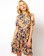 ASOS Shirt Dress With Cold Shoulder In Floral Print