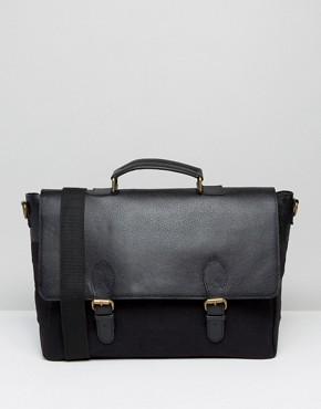 ASOS Smart Satchel In Black Leather And Canvas
