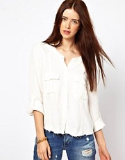 By Zoe Slouchy Shirt with Pockets and Raw Trim