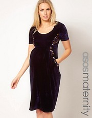 ASOS Maternity Midi Dress In Velvet With Embellishment