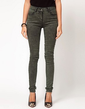 Image 1 ofASOS Skinny Jeans in Khaki Snow Wash