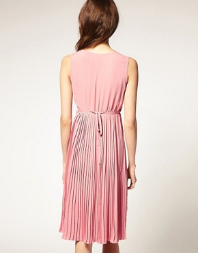 Image 2 ofASOS Sleeveless Midi Dress with Pleats