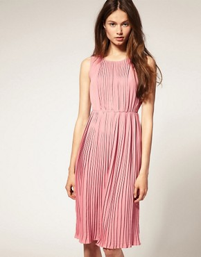 Image 1 ofASOS Sleeveless Midi Dress with Pleats
