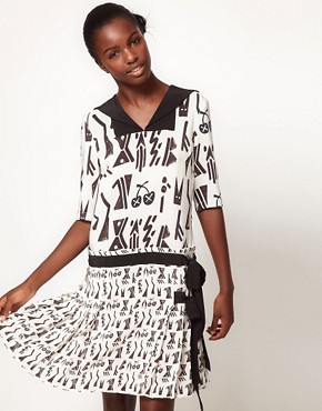 Image 1 ofLulu and Co House of Jazz Sailor Collar Dress in Tribal Print