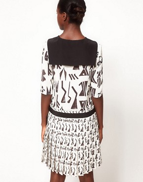 Image 2 ofLulu and Co House of Jazz Sailor Collar Dress in Tribal Print