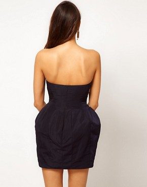 Image 2 ofASOS PETITE Exclusive Embellished Strapless Dress With Tulip Skirt