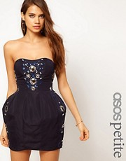 ASOS PETITE Exclusive Embellished Strapless Dress With Tulip Skirt