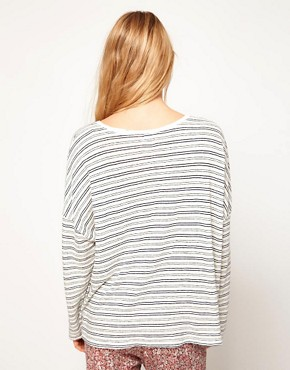 Image 2 ofOysho Stripe Oversized Top With Navy Stripe