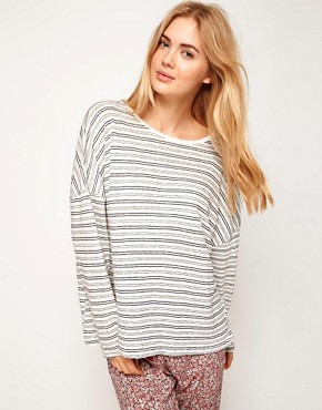 Image 1 ofOysho Stripe Oversized Top With Navy Stripe