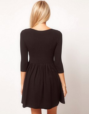 Image 2 ofASOS Skater Dress With Ballet Wrap and 3/4 Sleeve