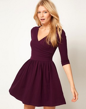 Image 1 ofASOS Skater Dress With Ballet Wrap and 3/4 Sleeve