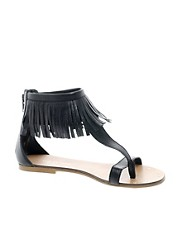 River Island Leather Fringe Sandals