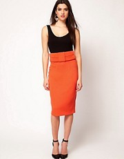 Aqua Brando Bow High Waist Pencil Skirt