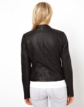 Image 2 ofOasis Stud Leather Look Jacket