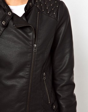 Image 3 ofOasis Stud Leather Look Jacket