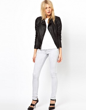 Image 4 ofOasis Stud Leather Look Jacket
