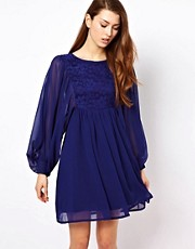 The Style Lace Mix Smock Dress