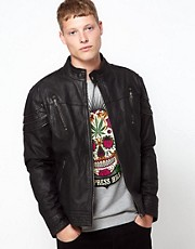 Barneys Originals Leather Jacket Zip Chest Pockets
