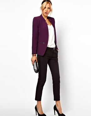 Image 4 ofASOS PETITE Exclusive Zip Pocket Notch Blazer