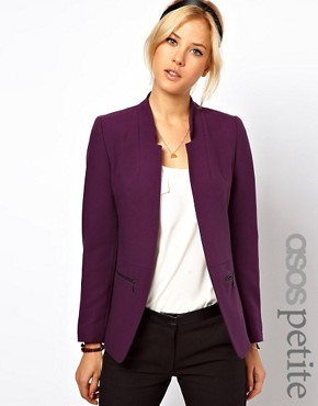 Image 1 ofASOS PETITE Exclusive Zip Pocket Notch Blazer