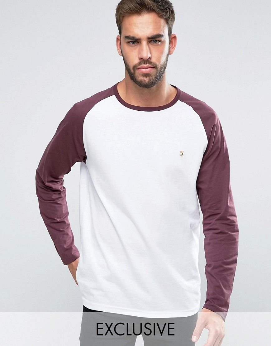 Farah T-Shirt with Contrast Reglan Long Sleeves Slim Fit Exclusive - R