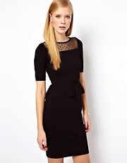 Karen Millen Knitted Dress with Peplum Waist