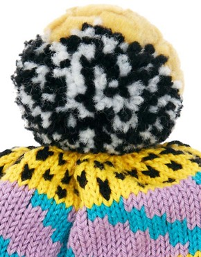 Image 3 ofAll Knitwear Yellow Party Bobble Hat