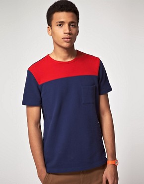 Image 1 ofASOS T-Shirt With Pique Cut And Sew
