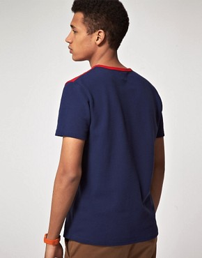 Image 2 ofASOS T-Shirt With Pique Cut And Sew