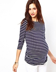New Look Maternity 3/4 Sleeve Stripe Boatneck Top