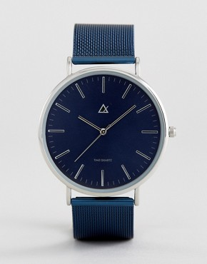 ASOS Watch With Mesh Strap In Navy