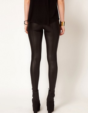 Image 2 ofHearts &amp; Bows Leather Look Seamed Leggings
