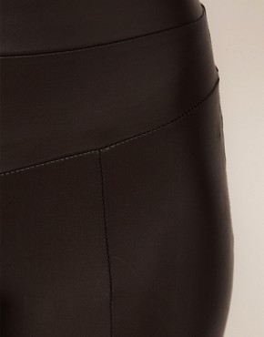 Image 3 ofHearts &amp; Bows Leather Look Seamed Leggings