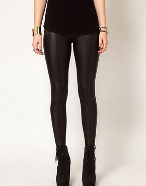 Image 4 ofHearts &amp; Bows Leather Look Seamed Leggings