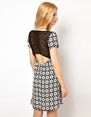 Love Swing Dress In Geo Print With Lace Back Detail