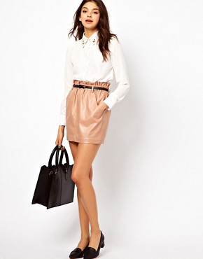 Dahlia PU Skirt with Paperbag Waist :  leather paperbag skirt