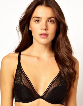 Image 1 ofCalvin Klein Black Lace Half Padded Plunge Bra