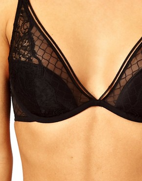 Image 3 ofCalvin Klein Black Lace Half Padded Plunge Bra