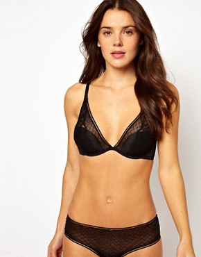 Image 4 ofCalvin Klein Black Lace Half Padded Plunge Bra