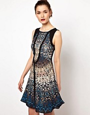 Warehouse Hi Lo Dress In Iris Print