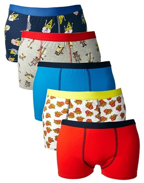 River Island 5 Pack Trunks With Print