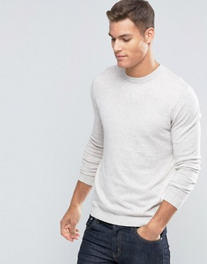 ASOS Crew Neck Jumper in White Nep Cotton