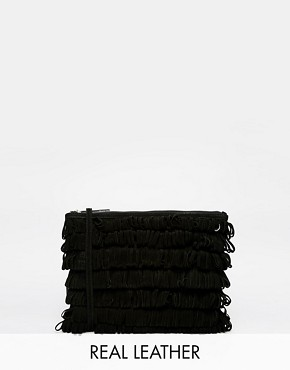 Whistles Lenox Suede Fringe Loop Clutch