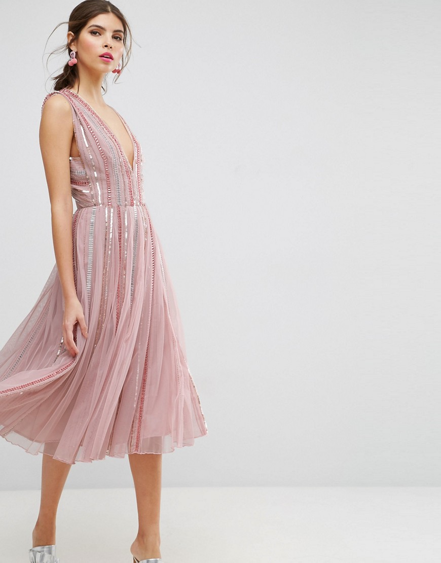 ASOS SALON Sequin Mesh Fit and Flare Midi Dress - Pink
