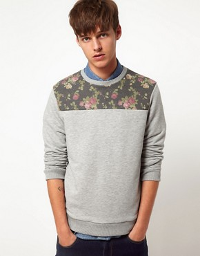 Image 1 ofASOS Sweatshirt With Floral Front Yoke