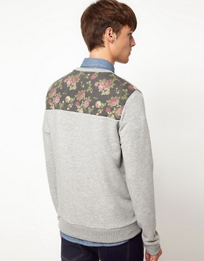 Image 2 ofASOS Sweatshirt With Floral Front Yoke